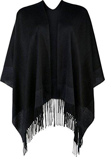 Esmara® Damen Poncho +++ Made in Italy +++ (schwarz mit dunkelgrauem Rand)
