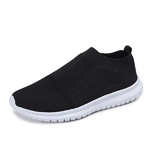 Deloito Damen Sneaker Wanderschuhe Runder Zeh Flache Laufschuhe Leichte Sportschuhe Freizeit Socken Schuhe Mesh Atmungsaktiv Turnschuhe (Schwarz,41 EU)