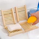 YUIO Jabonera de madera natural hecha a mano creativa caja de drenaje contenedor estante de jabón titular hogar accesorios de baño (color madera)