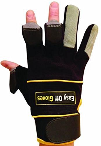 Specialist (zurückklappbare Fingerenden) Magnet Handschuhe von Easy Off Gloves. Ideal zum Schiessen, Angeln, Fitnessstudio, Gewichtheben, Gartenarbeit, Fotografieren & allgemeine Arbeitsschutzkleidung (Groß EU 10)