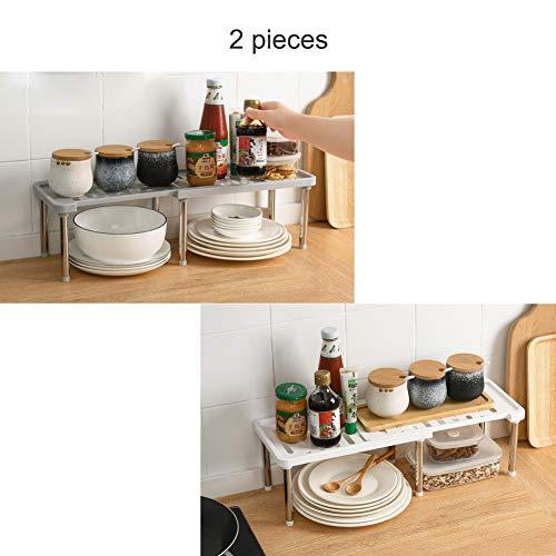 ZHIFENGLIU 2 Piezas Estante De Almacenamiento De Cocina,Baldas De Cocina Extensibles De Gris,Blanco,Diseño En Capas