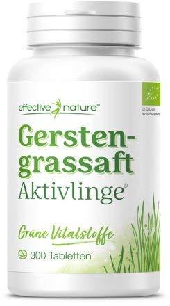 effective Nature Gerstengrassaft Aktivlinge, gepresste Tabletten ideal für unterwegs, aus kontrolliert biologischem Anbau, hochkonzentriert, 300 Tabletten