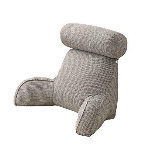 Cojín de respaldo para sofá, cojín de lectura, cojín para leer y cofre de cama, cojín con reposabrazos, cojín grande para relajarse y ver la televisión, en color gris claro
