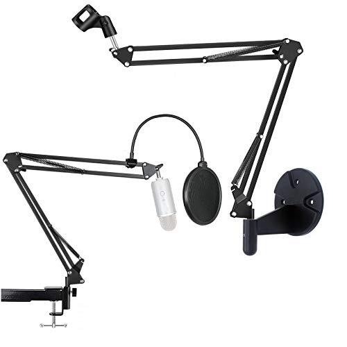 Mikrofonständer, 2-in-1-Kondensatormikrofonarm, kompatibel mit Blue Yeti Pro, Snowball iCE, AT2020 Mikrofon