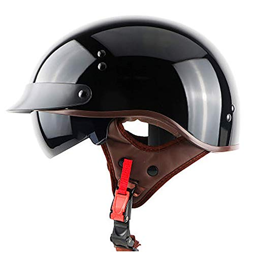ACEMIC Casco de motocicleta de media cara, casco de motocicleta ligero, aprobado por DOT, para hombres y mujeres, casco abierto Cruiser Chopper ciclomotor ATV J, XXL = 62 ~ 64 cm