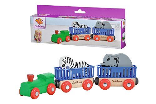 Eichhorn 100001351 - Tierzug, 5-tlg., Lok mit 2 Wagons und 2 Tieren: Zebra/ Elefant, 24cm, FSC 100{241224237a6d5acd79fefc6558b989adf10afc4aa3391d21f61bf1708e25aa34} Zertifiziertes Buchenholz - verbaubar mit fast allen Schienenbahnsystemen