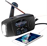 2021 Upgraded Emergency Solar Hand Crank Radio with LED Flashlight, Portable Am Fm NOAA Weather Radio, 2000mAh Solar Power Bank Cell Phone Charger for Home and Outdoor (Black)