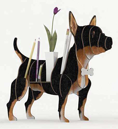 CHIHUAHUA SCHWARZ 3D Puzzle Organizer aus recyceltem Karton. Hundeständer oder Regal. Idee für den Schreibtisch, Regal für Schmuck, Federn oder Pflanzen, Veranstalter für Make-up