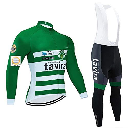 Completo Ciclismo Uomo, Abbigliamento Ciclismo Invernale Maniche Lunghe in Pile Termico e Pantaloni con Bretelle per MTB all'aperto