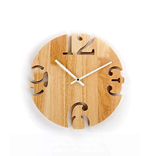 Reloj Nórdico Creativo Antiguo Reloj De Pared Silencioso Colgante De Madera Redondo De 12 Pulgadas, Reloj a Pilas (tamaño: L), Multiusos, Especialmente Práctico