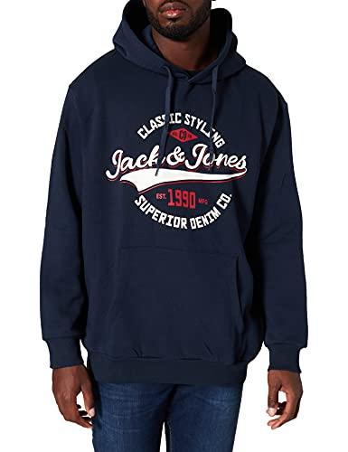 JACK & JONES PLUS JJELOGO Sweat Hood 2 COL 21/22 Noos PS Pullover, Blazer Bleu Marine, 6XL Homme