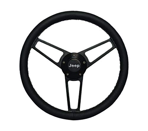 Grant 1909 Black Billet Series Leather Wrapped Steering Wheel with Jeep Logo & Installation Adaptor, 1 Pack