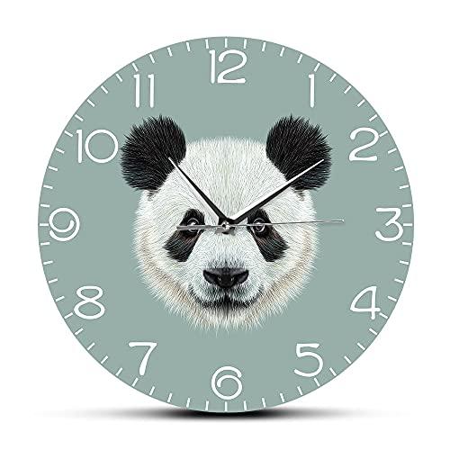 NIGU Regalo del día del miembro para las mujeres gigante panda retrato reloj de pared chino tesoro dibujos animados panda oso colgante reloj de pared