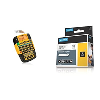 """DYMO RHINO 4200 Label Maker (1801611) with Industrial Labels for LabelWriter and Industrial Label Makers, Black on White, 3/4"""", 1 Roll"""