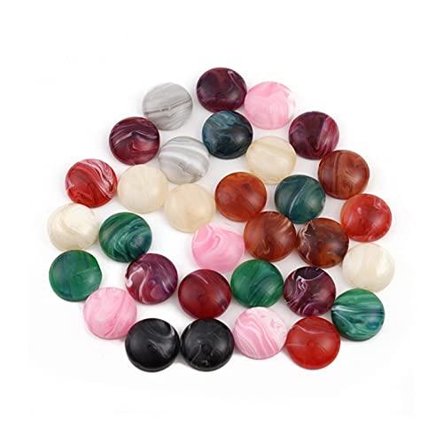 WEIGENG 10 – 30 unidades por lote de 6/8/10/12 mm cuentas de piedra natural redondas sueltas cuentas cabujón cameo colgantes bandeja base (color: 30 piezas de mármol, tamaño: 6 mm)