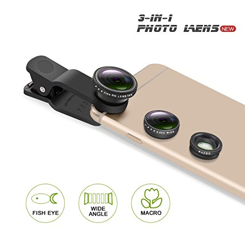 PLAY X STORE Universal 3 in 1 Cell Phone Camera Lens Kit Fish Eye Lens / 2 in 1 Macro Lens & Wide Angle Lens Universal Clip (Black)