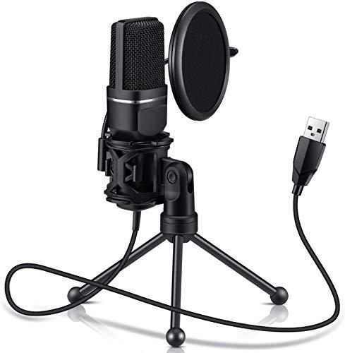 JKLL Micrófono USB, micrófono PC para Ordenadores Mac y Windows,con trípode de Metal,para grabación,Twitch Streaming, Voice Overs, Podcasting para Youtube, Chats de Skype,Negro