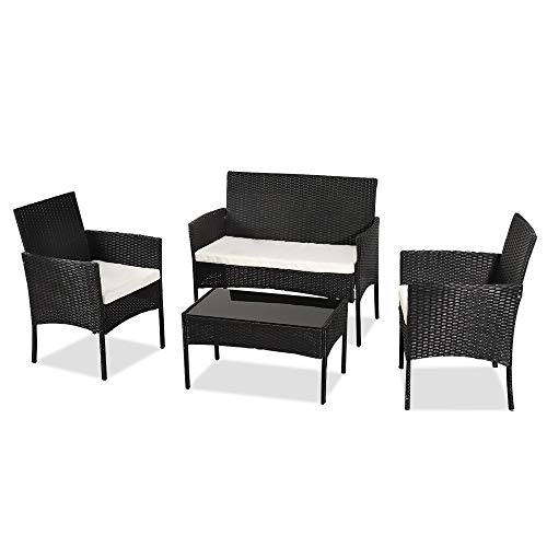 Wealthgirl 4 Pieces Outdoor Patio Furniture Sets Rattan Chair Wicker Set, Outdoor Indoor Use Backyard Porch Garden Poolside Balcony Furniture Sets (Black)