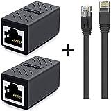 INWET Conector de cable Ethernet RJ45, acoplador LAN adaptador para cable LAN, acoplador RJ45, cable de red, cable de conexión, cable Ethernet, cable de Internet (2 unidades + 10 m de cable Ethernet).