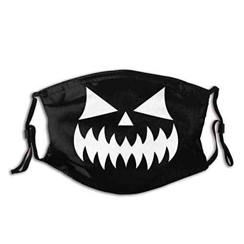 Scary Halloween Pumpkin Face with Weird Eyes, Nose and Big Teeth to Celebrate Halloween_ Unisex Windproof and Unisex Windproof and Dustproof Mouth Mask,Face Cover with Adjustable Elastic Strap