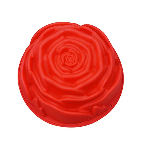 Valentine's Day Kitchen Tool 3D Big Rose Flower Cake Mold Silicone Fondant Chocolate Mould Baking Decorating, Resistant Low Temperature DIY Baking Tools Valentine's Day Silicone Large Cake Mold (A)
