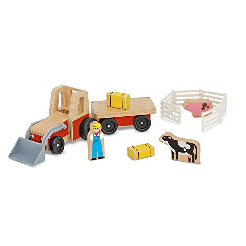 Melissa & Doug Farm Tractor Wooden Vehicle Play Set (5 pcs)