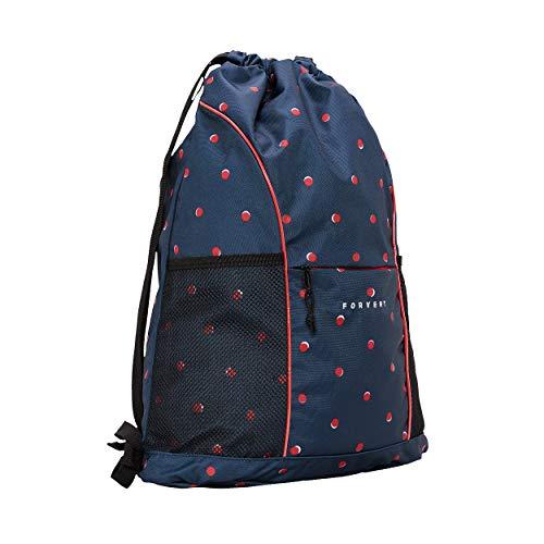 FORVERT Lando Unisex Bag lässiger Daypack,Rucksack,Hauptfach,vordere Tasche,größenverstellbare Trageriemen,Navy Double dots,one Size