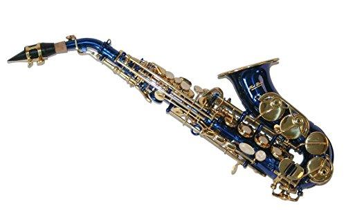 Karl Glaser Saxofón Soprano, curvada, Azul/Oro, con maletí