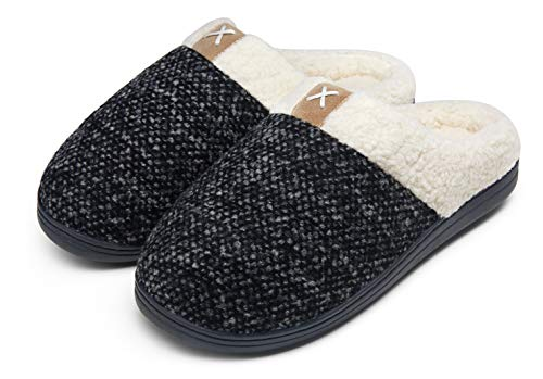 JOUSEN Men's Slippers Memory Foam with Warm Fuzzy Plush Indoor Outdoor House Slippers for Men(AMY203 Grey 10.5&11)