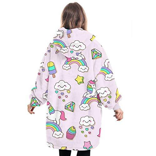 Oversize Blanket Hoodie for Kids, Cute Fluffy Sherpa Fleece Giant Hooded Sweatshirt with Large Pocket, for Children Teens