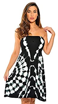 21612-BW-M Riviera Sun Strapless Tube Short Dress / Summer Dresses Black/White