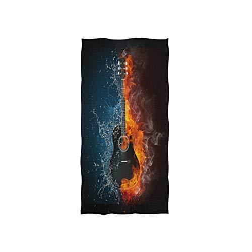 MNSRUU Handtuch für Gitarre im Feuer und Wasser, mit Musik und weichem Bad, Hotel- und Spa-Handtuch, 76 x 38 cm