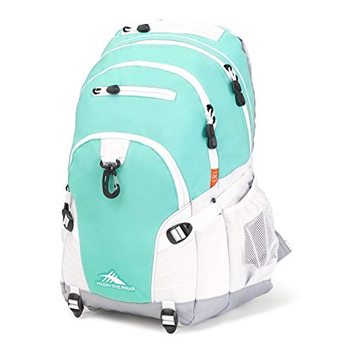 High Sierra Loop Backpack, 19 x 13.5 x 8.5-Inch, Aquamarine/White/Ash