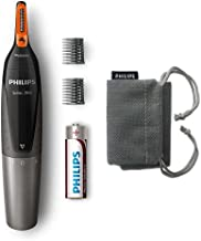 Philips NT3160/10 - Recortador de vello, nariz y orejas, resistente al agua, color negro y plateado, battery-powered