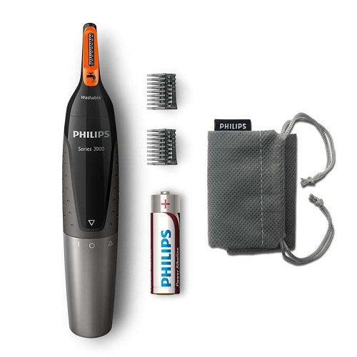 Philips Series 3000 Battery-Operated Nose, Ear & Eyebrow Trimmer - Showerproof & No Pulling Guaranteed - NT3160/10