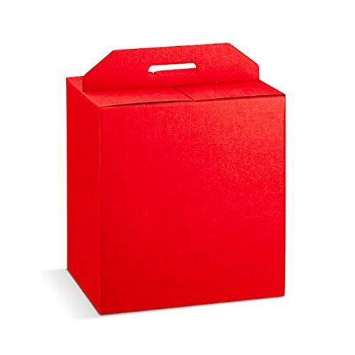 5 cajas grandes 52 x 31 x 35,5 cm rojas robustas de Navidad hasta 7 kg cartón acoplado y asa exterior rojo