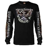 Harley-Davidson Military - Men's Black Long-Sleeve Eagle Graphic T-Shirt - Kadena Air Base | Eagle Ride Large