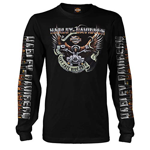 Harley-Davidson Men's Black Long-Sleeve Eagle Graphic T-Shirt - Kadena Air Base | Eagle Ride 2X