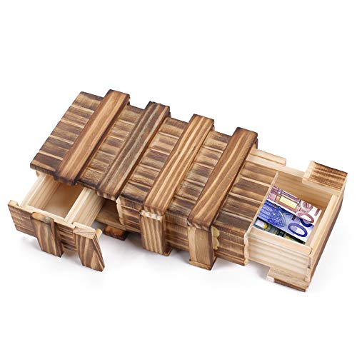 AILANDA Magische Geschenkbox Holzgeschenkbox mit 3 Fächern Magische Hölzerne Geschenkbox Magische Box für Geldgeschenke Schmuck Gutscheine Hochzeit
