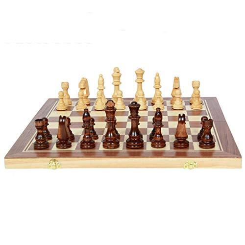 ZHENGXIN Juego de ajedrez, juego de ajedrez, juego de ajedrez internacional plegable 50 x 50 cm tablero de madera piezas de ajedrez Chessman King Altura 105 mm