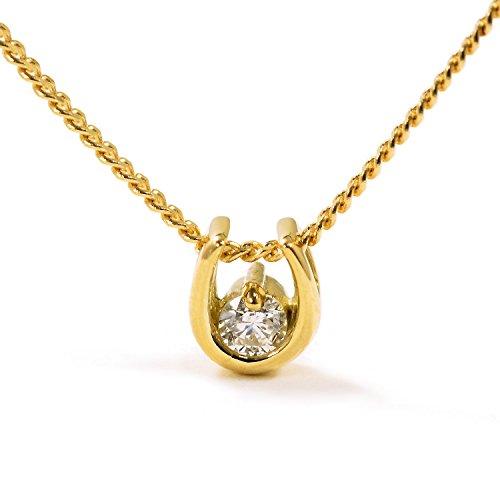 馬蹄ホースシュー メンズ ネックレス ダイヤモンド0.05カラット 18金イエローゴールド K18 YG