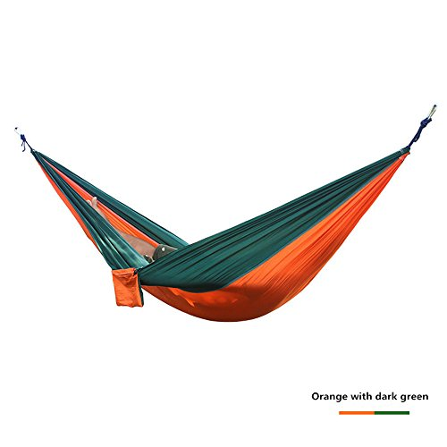 Outdoor Ultra Light en soie de parachute Hamac de voyage 275 x 140 cm Charge max. 250 kg en kit avec fixation (2 Mousqueton et 2 cordes) dans de nombreuses couleurs de voyage, camping, jardin, trekking, plage, Travel Hammock Orange mit Gün