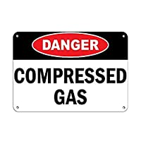 Danger Compressed Gas Hazard Sign Flammable 金属板ブリキ看板警告サイン注意サイン表示パネル情報サイン金属安全サイン