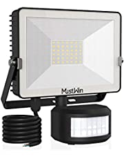 Security Lights Outdoor Motion Sensor, MustWin 30W LED Floodlight 3000LM PIR Lights 6000K Daylight White Flood Light with 2M Power Cord IP65 Waterproof Lighting for Garden Forecourt Garage Wall Patio
