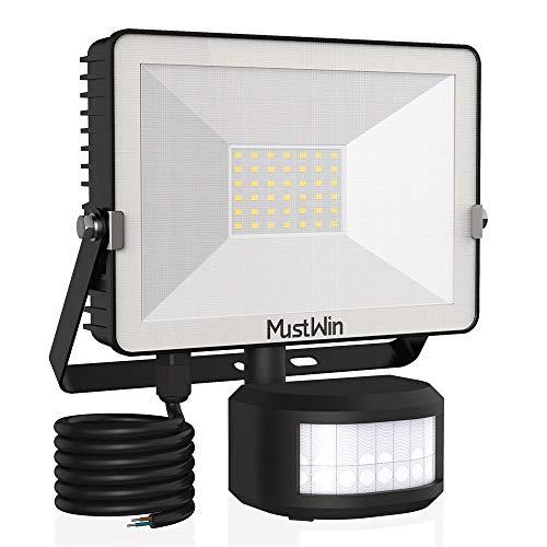 MustWin 30W LED Strahler mit Bewegungsmelder Außen 3000LM Außenstrahler 6000K Tageslichtweiß Scheinwerfer IP65 Wasserdicht mit 2M Stromkabel, Ideale Aussenleuchte für Außen Garten Garage Haus Hof