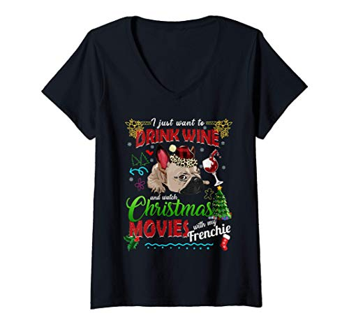 Mujer Drink Wine Watch Christmas Movies With My Frenchie Dog Women Camiseta...