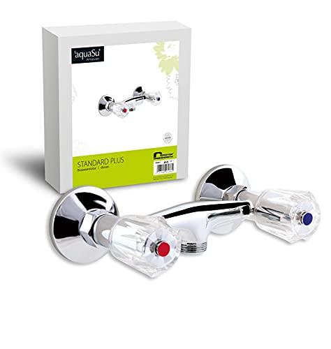 'aquaSu® Zweigriffmischer Standard Plus für Brause | Brausearmatur | Armatur Dusche | Chrom