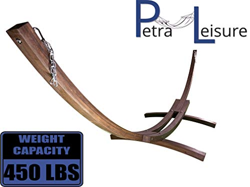 Petra Leisure 14 Ft. Wooden Arc Hammock Stand. 450 LB Capacity. Coffee Stain Finish