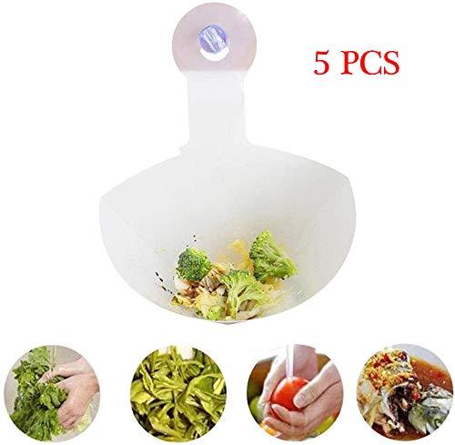 ZXB Faltbarer Küchenfilter, zusammenklappbares Sieb, Sieb-Spülkorb, einfaches Spülbecken Selbstständiges Spülbecken mit Anti-Blocking-Filter (5PCS)