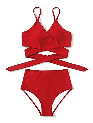 Aeromdale Bikini Set Dos Piezas Traje De Baño Para Mujer De Talle Alto, Traje De Baño De Playa Traje De Baño Estilo A - Rojo - L